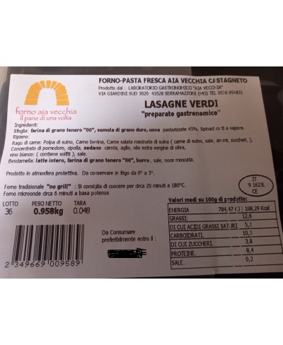 Lasagne verdi precotte con ragù e besciamella 1 kg